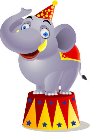 cartoon circus: Elephant circuss Illustration