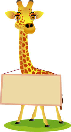 cheer: Giraffe cartoon and blank sign Illustration