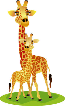 group of animals: Mother and baby giraffe Illustration