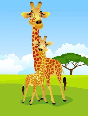 Mother and baby giraffe Stock Vector - 9698969
