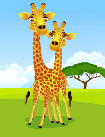 herbivore: Giraffe cartoon couple Illustration