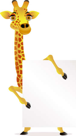 big smile: Giraffe cartoon and blank sign Illustration