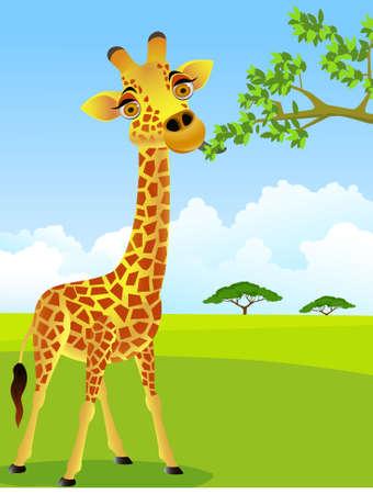 jirafa cute: Dibujos animados de jirafa comiendo hojas