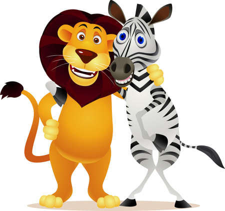 Zebra and lion Vector