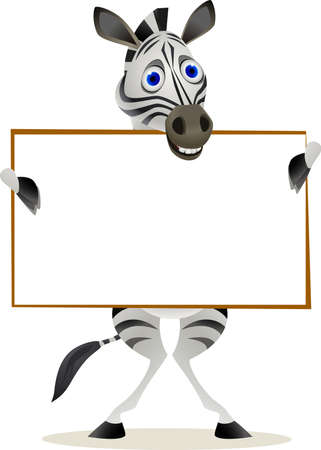 africa safari: zebra ad blank sign Illustration