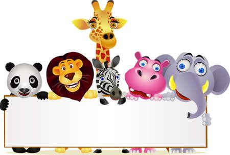animal cartoon and blank sign Stock Vector - 9698991