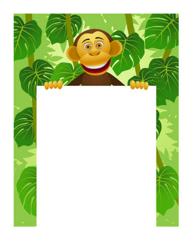 rainforest tree: Chimpanzee cartoon and blank sign