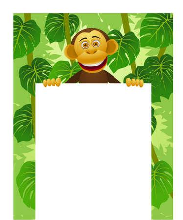monkey on a tree: Chimpanzee cartoon and blank sign