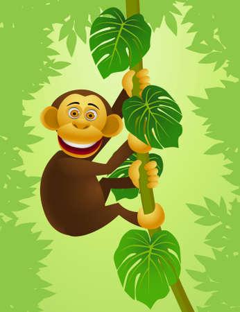climb: Chimpanzee cartoon