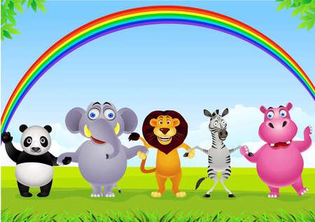 hippopotamus: Dibujos animados de animales Vectores