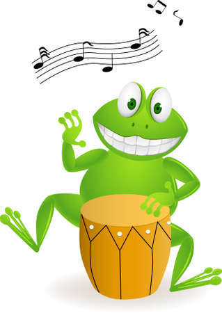 humor jump: frog with drum Illustration