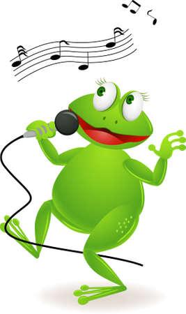 Frog singing Stock Vector - 9812466