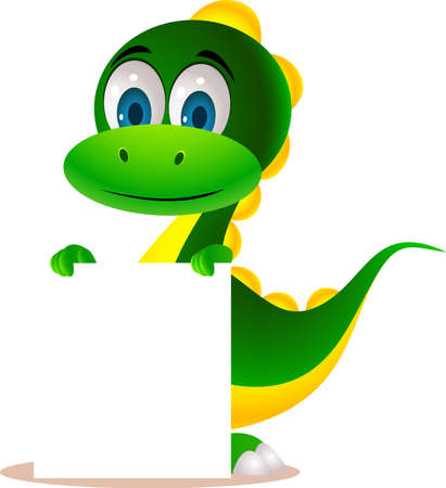 cute dinosaur cartoon and blank sign Vector