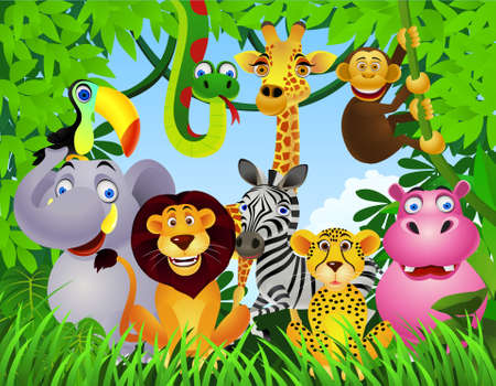 jungle green: dibujos animados de animales