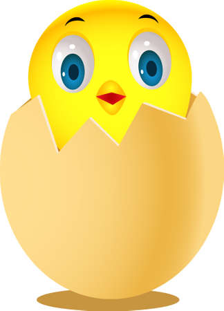Cute chicken in egg Vector