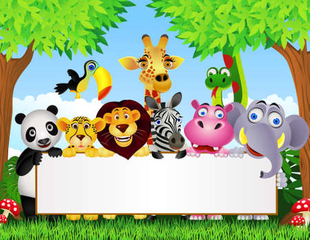 cartoon jungle: Animal cartoon and blank sign Illustration