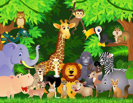jungle cartoon: Dibujos animados de animales Vectores