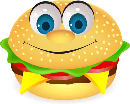 cartoon food: Burger cartoon character