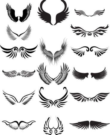 silueta de angel: Colecci�n de silueta de alas