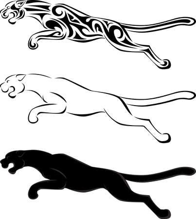 Jaguar tribal tattoo and silhouette Vector