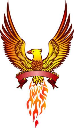 phoenix and emblem Vector