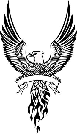 Phoenix y emblema Ilustración de vector