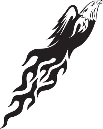 the air attack: Eagle with flame Illustration