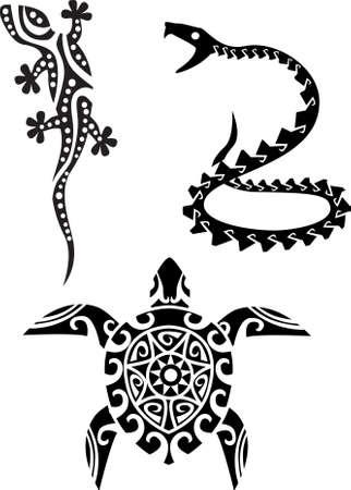 eidechse: Reptil Stammes-T�towierung Illustration