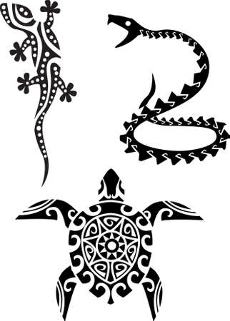 lizard: reptile tribal tattoo Illustration