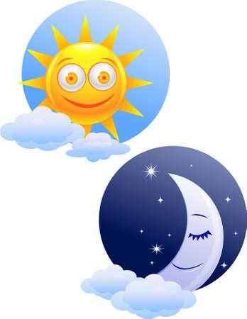 zon maan: Dag en nacht