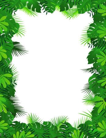 selva: Fondo de marco de bosque Vectores