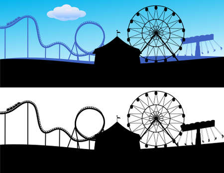 Carnival with roller coaster Vector