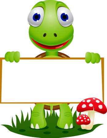 children turtle: Turtle and blank signboard