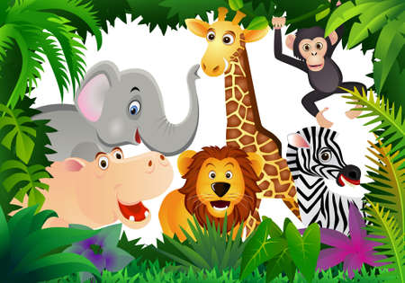 africa safari: Wild animal cartoon Illustration