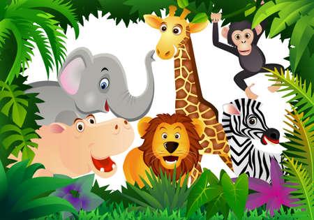 safari cartoon: Wild animal cartoon Illustration