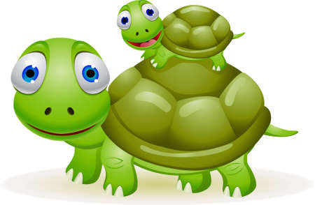 turtles love: mother and baby turtle Illustration