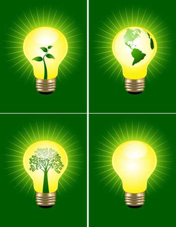 green light bulb: Eco bulb set Illustration