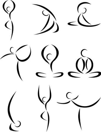 flexibility: Yoga art symbol set