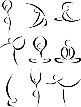 Yoga art symbol set Stock Vector - 10057293