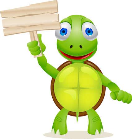tortuga: Tortuga y se�al en blanco Vectores