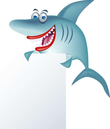 tiburon caricatura: dibujos animados de tibur�n y signo en blanco