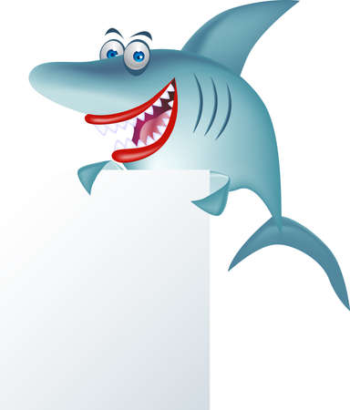 shark cartoon and blank sign Vector