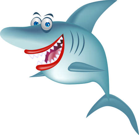 animal teeth: Funny shark cartoon