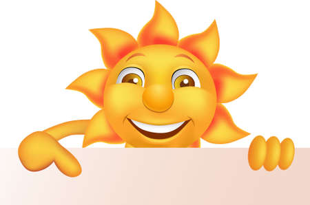 Sun cartoon character and blank sign