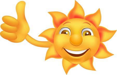 pulgar levantado: Dibujos animados de sol con el dedo pulgar arriba