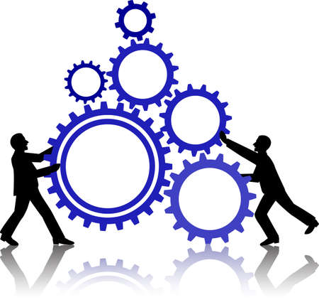 manage: illustration of business people working together