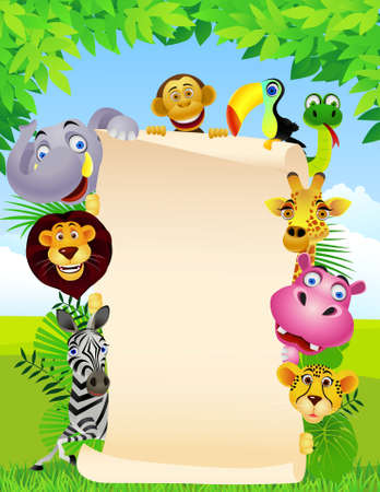 jungle cartoon: signo animal y en blanco Vectores