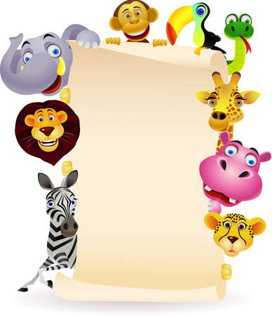 animals together: animal and blank sign Illustration
