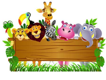 safari: Animal cartoon and blank sign board Illustration
