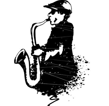 Man playing saxophone Vector